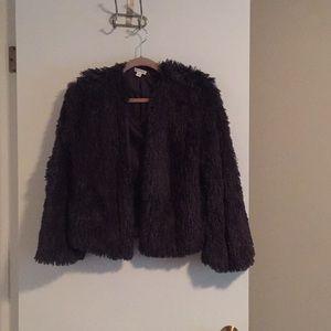 Fuzzy dark gray jacket, great condition